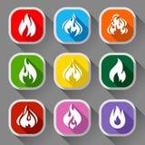Fiamme del fuoco, nove icone Immagine Stock
