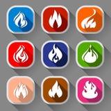 Fiamme del fuoco, nove icone Fotografie Stock