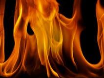 Fiamme del fuoco su priorità bassa nera Immagini Stock