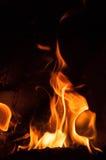 Fiamme del fuoco su una priorità bassa nera Fondo di struttura della fiamma del fuoco della fiammata Chiuda su delle fiamme del f Fotografie Stock
