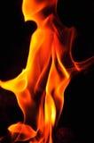 Fiamme del fuoco su una priorità bassa nera Parte posteriore di struttura della fiamma del fuoco della fiammata Immagini Stock Libere da Diritti