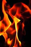 Fiamme del fuoco su una priorità bassa nera Parte posteriore di struttura della fiamma del fuoco della fiammata Fotografia Stock Libera da Diritti
