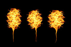 Fiamme del fuoco sul nero Fotografia Stock Libera da Diritti