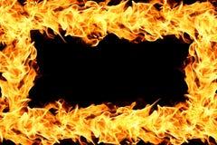 Fiamme del fuoco sul nero Fotografie Stock