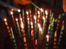 Fiamme di candela di buon compleanno Fotografia Stock Libera da Diritti