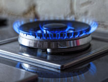 Fiamme di gas blu Chiuda sull'anello bruciante del fuoco da una stufa di gas della cucina Foto tinta Fotografie Stock Libere da Diritti