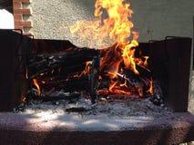 Fiamme di lancio del bello fuoco in un camino Immagine Stock Libera da Diritti