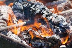 Fiamme di una fine del fuoco di accampamento su Fotografia Stock Libera da Diritti