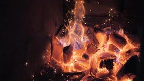 Fiamme e griglia rossa dell'Argentina dei tizzoni Preparazione della griglia e del fuoco per il barbecue al ristorante Steakhouse archivi video