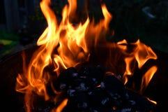 Fiamme sulla griglia del barbecue Fotografia Stock Libera da Diritti