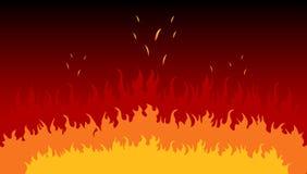 Fiamme in un fuoco Immagini Stock