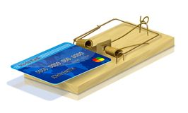 Fianancial Trap. Mouse trap with a credit card for bait showing the dangers of debt Royalty Free Stock Images