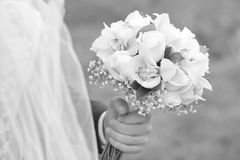 Fiance holding bouquet Royalty Free Stock Photo
