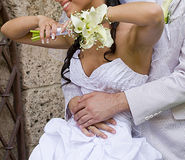 Fiance inarm happy bride Royalty Free Stock Photo