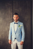 Fiance wearing blue suit Royalty Free Stock Photo