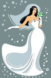 Fiancee. Vectorial illustration. fiancee with a wedding bouquet Royalty Free Stock Image