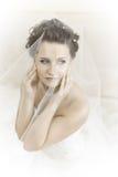 Fiancee. Vertical wedding portrait beautifull  fiancee in white dress, soft light Stock Image