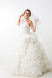 Fiancee. Portray of happy beautiful fiancee in white fashion dress Royalty Free Stock Image
