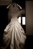 Fiancee back. Beautiful fiancee dress, her back and arms royalty free stock photo