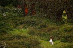 Fiancee in Flores green landscape, Azores, Portugal. Fiancee on green Flores island, Azores, Portugal Stock Photos