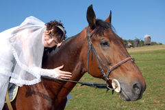 Fiancee and horse. Fiancee in a wedding-dress astride on a horse royalty free stock photos