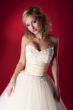 Fiancee lovely girl in bridal white dress Stock Photos