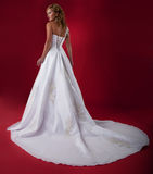Fiancee model in white long dress. Stock Images