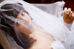 Fiancee under veil. Young fiancee looks from under veil at camera and hold hair-pin in hand royalty free stock photo