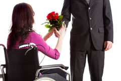 Fiancee on wheelchair Stock Photography