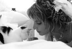 Fiancee witn cat. Fiancee witn black&white cat Stock Photos