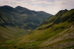 Fianco di una montagna con erba verde immagini stock