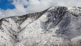 Fianco di una montagna innevato fotografia stock