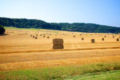 Fianzas del heno en pista de granja Imagen de archivo