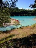 Fiastra sjö, Macerata, Marche, Italien Arkivbilder