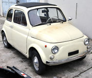 Fiat 500. Vintage Fiat 500 at auto service for restoration Royalty Free Stock Photography