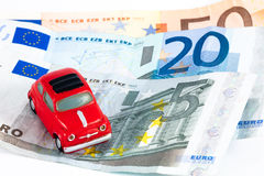 Fiat 500 and euros Stock Photos
