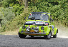 Fiat 500 Giannini. A Fiat 500 Giannini driven by Giuseppe Cecconi during the Third stage of Rally di Reggello in Tuscany (Italy), the rally will take place Royalty Free Stock Images