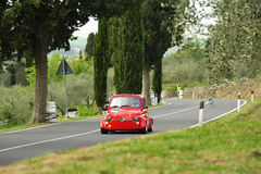 Fiat 500 Giannini. A Fiat 500 Giannini attends the 26th edition of Camucia Cortona, a competition race of hill-climb for hsitorical cars valid for CSAI italian Royalty Free Stock Photos