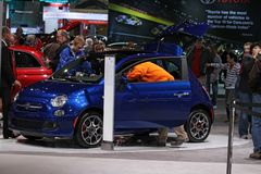 FIAT 500 at the International auto-show Royalty Free Stock Photo