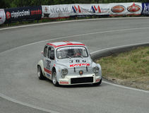 Fiat 600 Abarth. A Fiat  600 Abarth  driven by Andrea Bonucci  during the 45° Trofeo Luigi Fagioli a competition race of hill-climb for modern and Historical Royalty Free Stock Photography