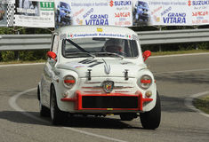 Fiat 600 abarth. A Fiat 600 Abarth   attends the 33th edition of Coppa del Chianti Classico  a competition race of hill-climb for Historical cars valid for Royalty Free Stock Photo