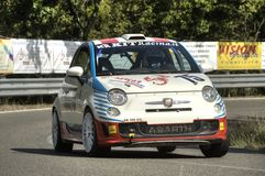 Fiat 500 Abarth. A Fiat 500 Abarth attends the 34th edition of Chianti Classic Cup , a competition race of hill-climb for hystorical cars valid for CSAI italian Stock Photo