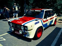 FIAT 131 Abarth au drapeau 2017 d'argent de Vernasca Photo stock