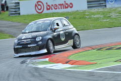 Fiat 595 Abarth car on Monza Track -  Ferrari Challenge April 2015 Royalty Free Stock Image