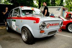 Fiat Abarth 1000 OT en la bandera 2017 de la plata de Vernasca Fotografía de archivo