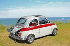 Fiat 695 abarth. Photo of a fiat 695 abarth in italian racing spec on display at the whitstable outdoor coast car show during summer 2017 Stock Photo