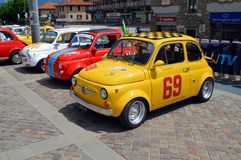 FIAT 500 Abarth. A yellow FIAT 500 Abarth at Clusone for a rally dedicated to the small italian citycar. Derived from the wide known citycar, this sporty version Stock Images