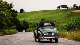 FIAT  500 C Topolino  1951. Mille miglia 2015 italy history vintage car retro Stock Image