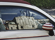 Fiat 500 cabrio with american flag Stock Photo
