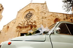 Fiat 500 car in front of the Cathedral of Otranto by marriage - Italy Royalty Free Stock Photo
